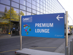 The restaurant 'Brasserie', hall 13 on the Hannover fairground, which served as'CeMAT Premium Lounge' on the fair 'CeMAT 2011', which is specially reserved for customers of exhibitors with 'Premium Pass' - view from outside