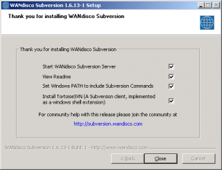 The configuration screen of WANdisco Subversion