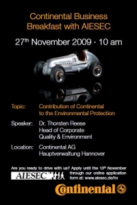 Continental Business Breakfast with AIESEC 2009. Speaker: Dr. Thorsten Reese, Head of Corporate Quality & Environment